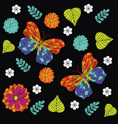 Embroidery seamless pattern with beautiful vector