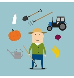 Farmer man and agriculture icons vector