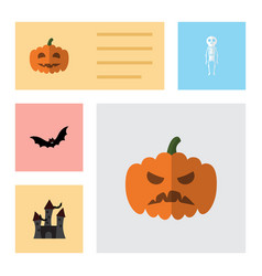 flat icon halloween set of fortress pumpkin vector image vector image
