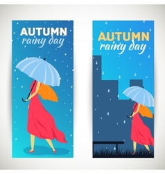 Girl with umbrella in a autumn raining beautiful vector
