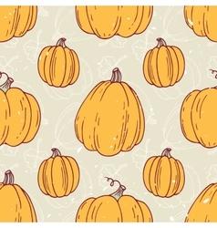 Hand drawn halloween pumpkins seamless pattern vector image