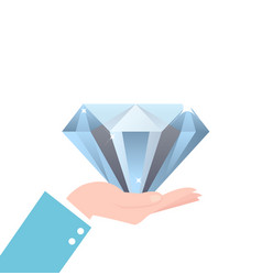 Hand holding big diamond concept of rich brilliant vector