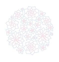 Line art succulent plant round composition vector image vector image
