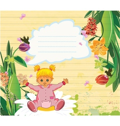 little girl with floral vector image vector image