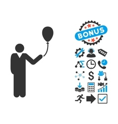 Man With Holiday Balloon Flat Icon with vector image