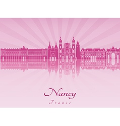Nancy skyline in purple radiant orchid vector image vector image