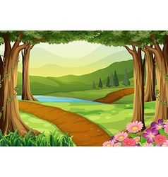 Nature scene with river and forest vector image vector image