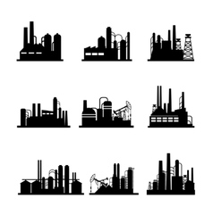 Oil refinery and oil processing plant icons vector image vector image