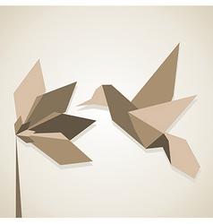 Orimagi flower and hummingbird in brown tones vector image vector image