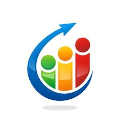 people finance graph arrow logo vector image vector image
