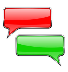 red and green speech bubbles rectangular 3d icons vector image vector image