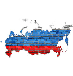 Russia map on a brick wall vector