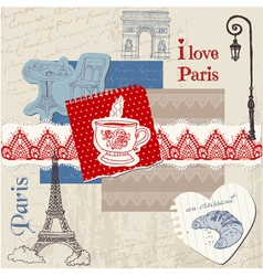 Scrapbook design elements - paris vintage set vector