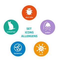 Set icons allergen vector