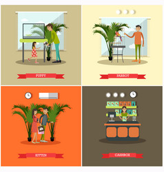 Set of pet store posters in flat style vector