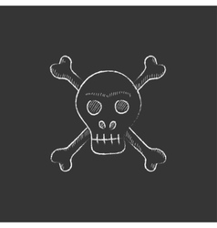 Skull and cross bones drawn in chalk icon vector