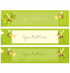 spring vintage banners with bees vector image