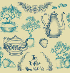 Tea and coffee seamless pattern table cloth vector