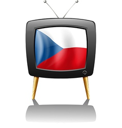 The flag of czech republic inside the television vector