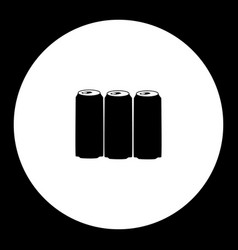 Three beer drink beverage can simple black icon vector