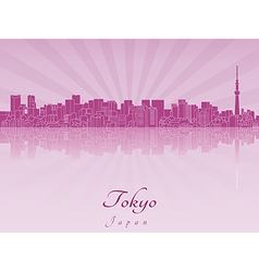 Tokyo v2 skyline in purple radiant orchid vector