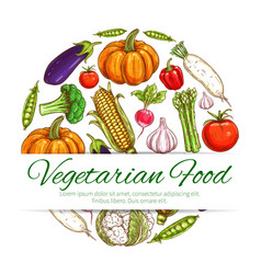 vegetable symbol of fresh organic veggies vector image vector image