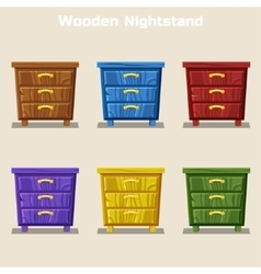 Cartoon colorful wooden nightstand in vector