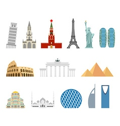 Landmark travel set architectural monuments known vector