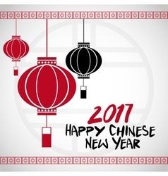chinese new year 2017 lanterns white bakcground vector image