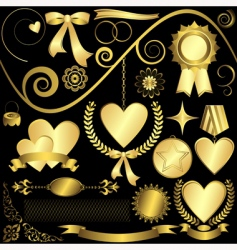 Golden design elements vector