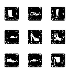 Shoes icons set grunge style vector
