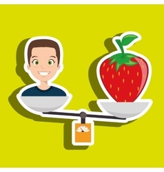Woman cartoon fruit strawberry food balance vector