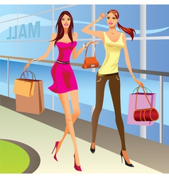 Fashion shopping girls with bags vector