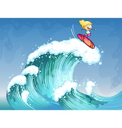 A girl surfing vector image