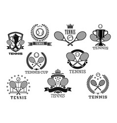 Icons for tennis club tournament awards vector