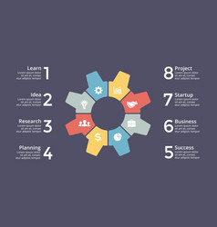 circle gear infographic cycle diagram vector image