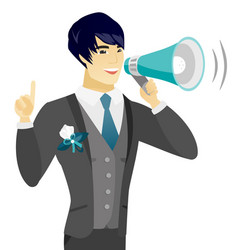 Young asian groom making announcement vector