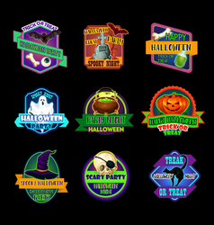 Halloween holiday icon and horror party label vector