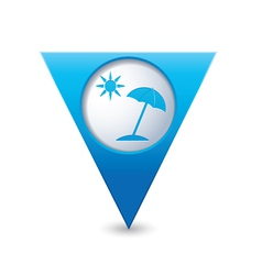 Beach icon map pointer blue vector