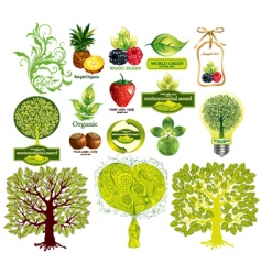 Set of ecological elements vector