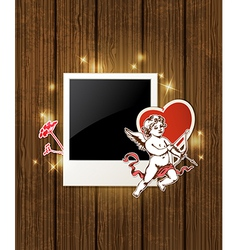 Decorative wooden background with photo and cupid vector