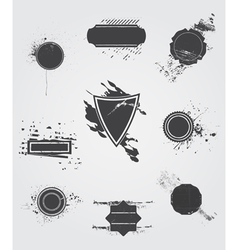 Set of old dark vintage grunge label vector image