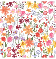 Seamless pattern with contour summer flowers vector