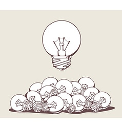 White big lightbulb above pile of lightbu vector