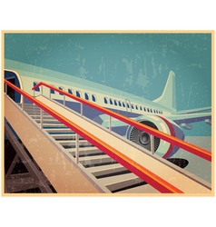 vintage poster with plane vector image