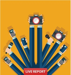 Live report concept live news hands of journalists vector