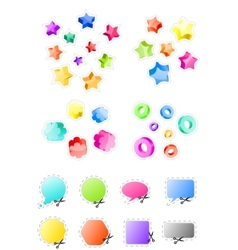 3d shapes and stickers vector