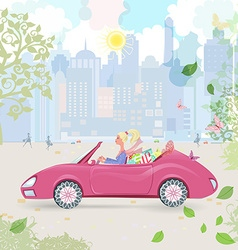 Car woman in pink convertible with shopping bags vector