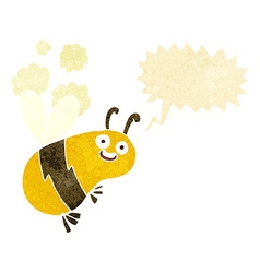 Funny cartoon bee with speech bubble vector