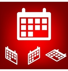 Calendar icon set isometric effect vector
